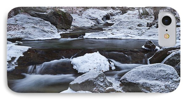 River-vermont-first Snow-forest-waterfall-trees IPhone Case by Andy Gimino