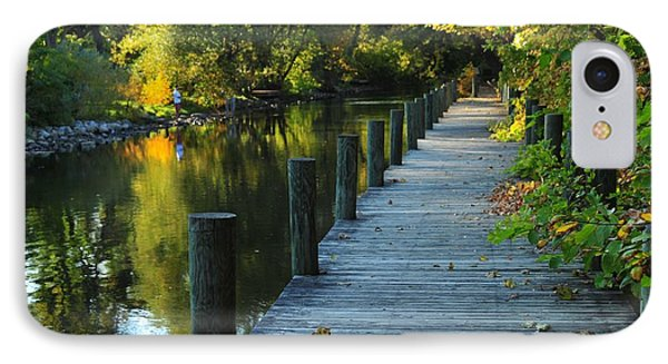 River Walk In Traverse City Michigan IPhone Case by Terri Gostola
