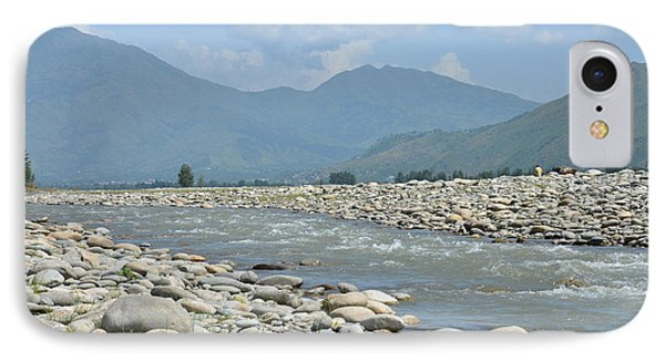 IPhone Case featuring the photograph Riverbank Water Rocks Mountains And A Horseman Swat Valley Pakistan by Imran Ahmed