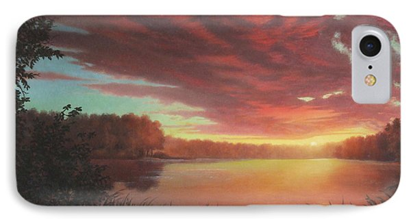 Riverbend Sunset Sky River Landscape Oil Painting American Yellow Pink Orange Phone Case by Walt Curlee