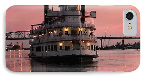 IPhone Case featuring the photograph Riverboat At Sunset by Cynthia Guinn
