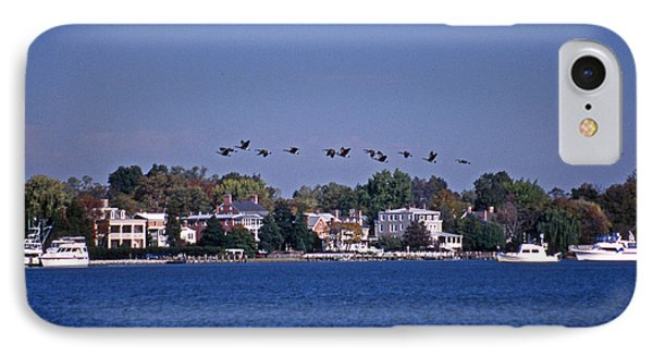 Riverfront Geese Phone Case by Skip Willits