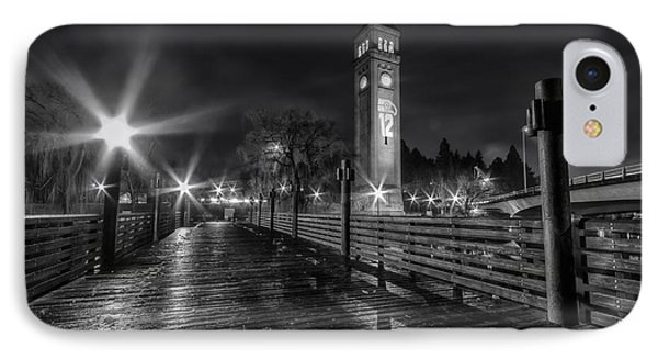 Riverfront Park Clocktower Seahawks Black And White IPhone Case by Mark Kiver