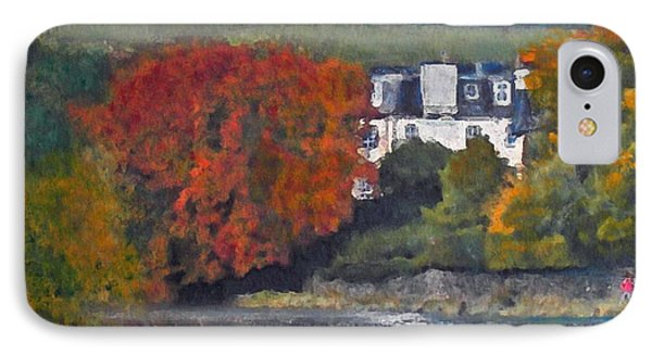 IPhone Case featuring the painting Riverside House And The Cauld Water Peebles by Richard James Digance