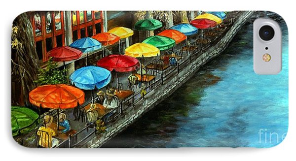 IPhone Case featuring the painting Riverwalk San Antonio by Anna-maria Dickinson