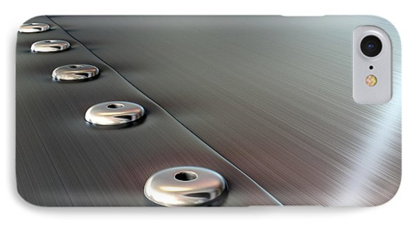 Rivets On Brushed Metal Perspective IPhone Case by Allan Swart