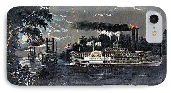 Rl 27835 Rounding A Bend On The Mississippi Steamboat Queen Of The West Litho IPhone Case