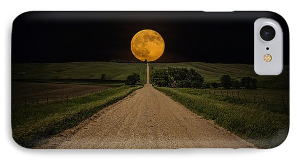 Road To Nowhere - Supermoon IPhone Case by Aaron J Groen