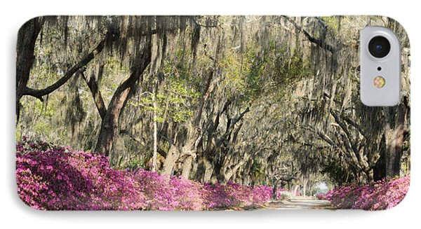 IPhone Case featuring the photograph Road With Azaleas And Live Oaks by Bradford Martin