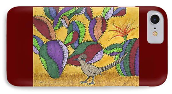 Roadrunner And Prickly Pear Cactus IPhone Case