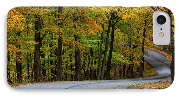 Roadway In Autumn In Brown County State IPhone Case by Chuck Haney