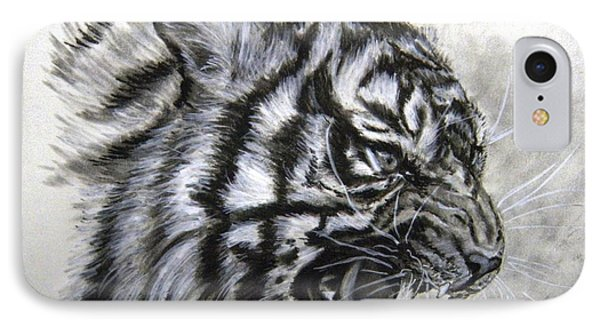 IPhone Case featuring the drawing Roaring Tiger by Lori Ippolito