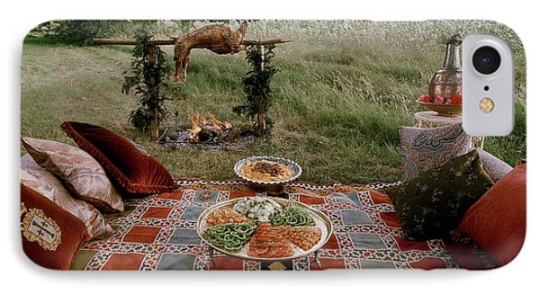 Robert Carrier's Moroccan Picnic In A Field IPhone Case by David Massey