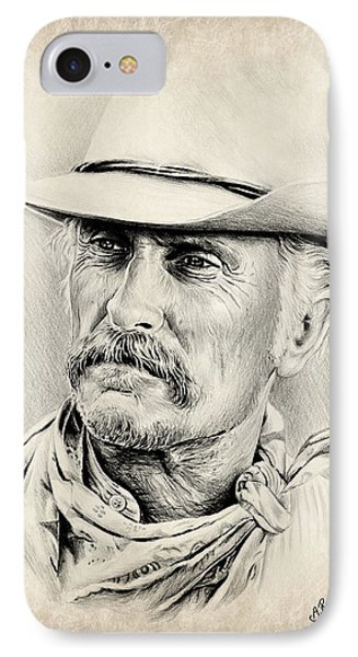 Robert Duvall Sepia Scratch IPhone Case by Andrew Read