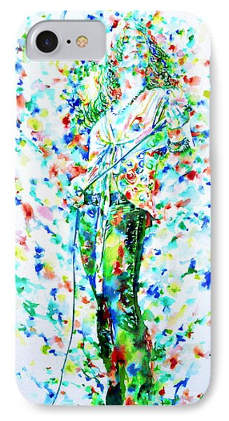Robert Plant Singing - Watercolor Portrait IPhone Case by Fabrizio Cassetta