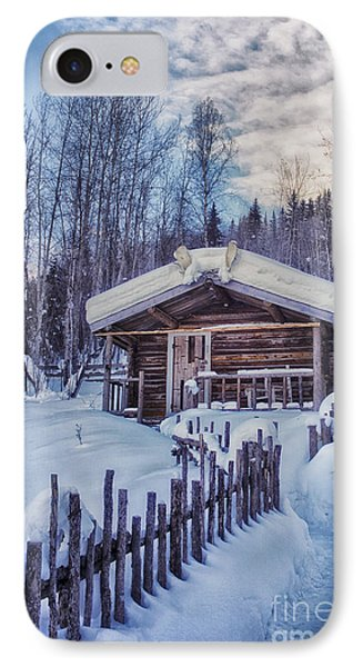Robert Service Cabin Winter Idyll IPhone Case by Priska Wettstein
