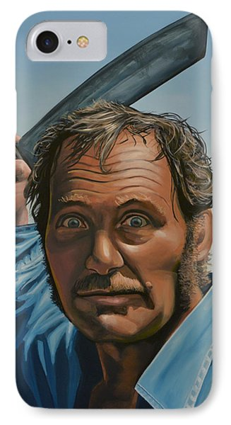 Robert Shaw In Jaws IPhone Case by Paul Meijering
