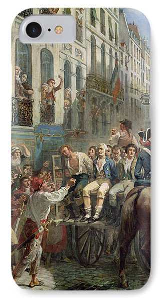 Robespierre 1758-94 And Saint-just 1767-94 Leaving For The Guillotine, 28th July 1794, 1884 Oil IPhone Case