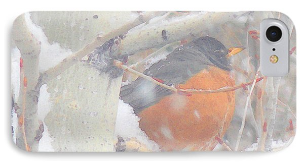 IPhone Case featuring the photograph Robin In April Snow by Anastasia Savage Ealy