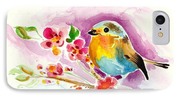 Robin In Flowers IPhone Case by Tiberiu Soos