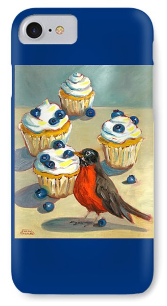 IPhone Case featuring the painting Robin With Blueberry Cupcakes by Susan Thomas