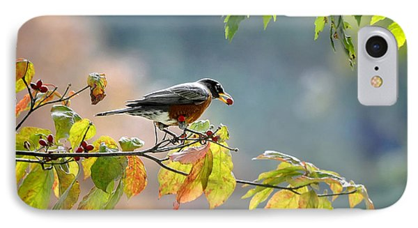 IPhone Case featuring the photograph Robin With Red Berry by Nava Thompson