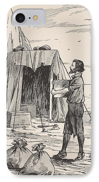 Robinson Crusoe Building His Shelter IPhone Case by English School