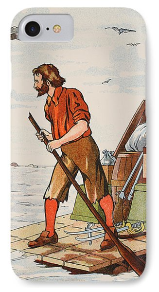 Robinson Crusoe On His Raft IPhone Case by English School