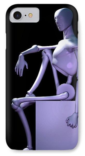 IPhone Case featuring the digital art Robot In Thought... by Tim Fillingim