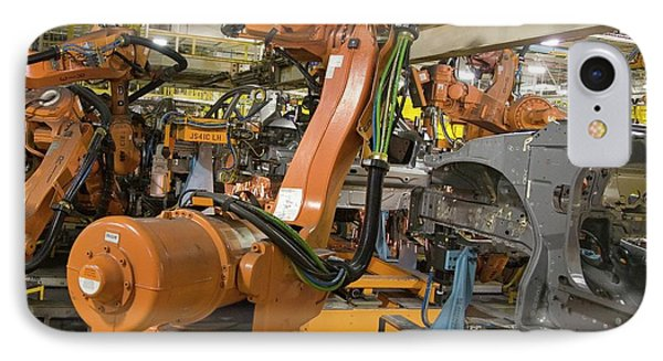 Robot On Car Assembly Production Line IPhone Case by Jim West