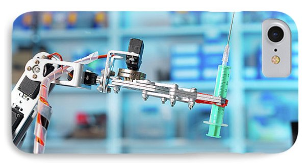 Robotic Equipment Holding Syringe In Lab IPhone Case by Wladimir Bulgar
