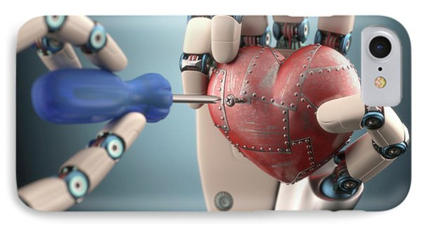 Robotic Hand Fixing Heart IPhone Case by Ktsdesign