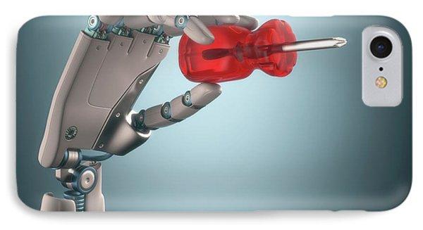 Robotic Hand Holding Screwdriver IPhone Case