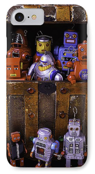 Robots In Treasure Box IPhone Case by Garry Gay