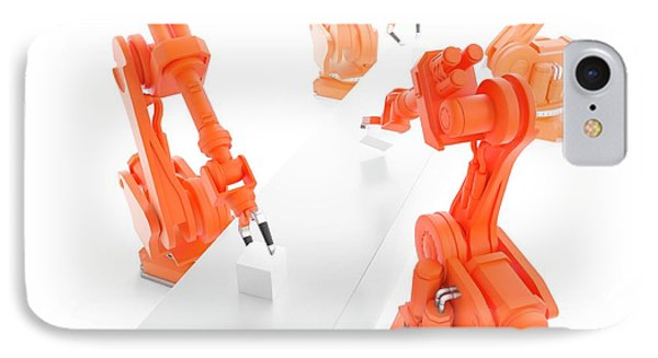 Robots On Production Line IPhone Case by Andrzej Wojcicki