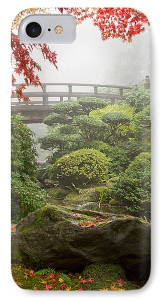 IPhone Case featuring the photograph Rock And Bridge At Japanese Garden by JPLDesigns