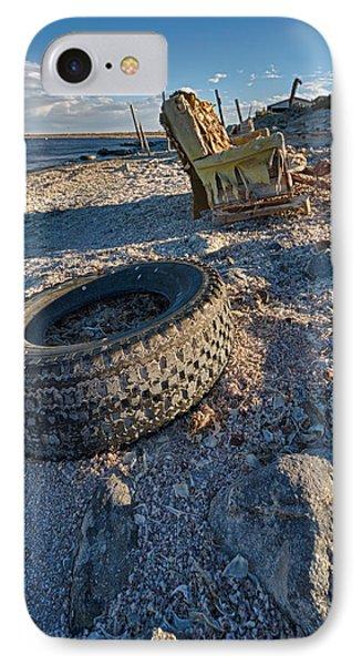 Rock Bounces Off Tire Rock Breaks Chair IPhone Case by Scott Campbell