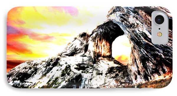 IPhone Case featuring the painting Rock Cliff Sunset by Bruce Nutting