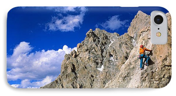 Rock Climber Grand Teton National Park IPhone Case by Panoramic Images