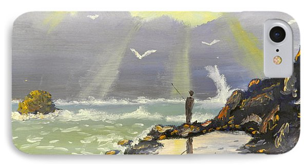IPhone Case featuring the painting Rock Fishing At Wombarra  by Pamela  Meredith