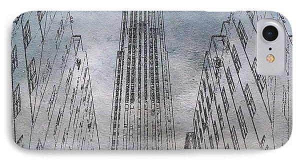 Ge Building Facade Sketch IPhone Case by Dan Sproul