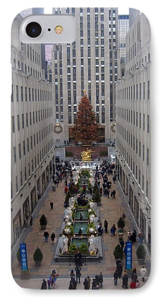Rockefeller Plaza At Christmas IPhone Case by Judith Morris