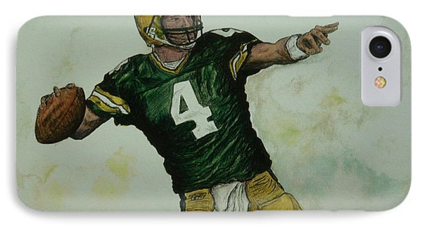 IPhone Case featuring the painting Rocket Favre by Dan Wagner