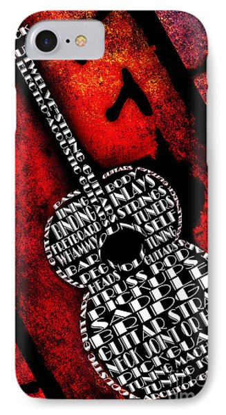 Rockin Guitar In Red Typography Phone Case by Andee Design