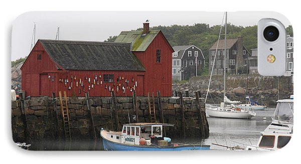 Rockport Inner Harbor With Lobster Fleet And Motif No.1 IPhone Case by Christiane Schulze Art And Photography