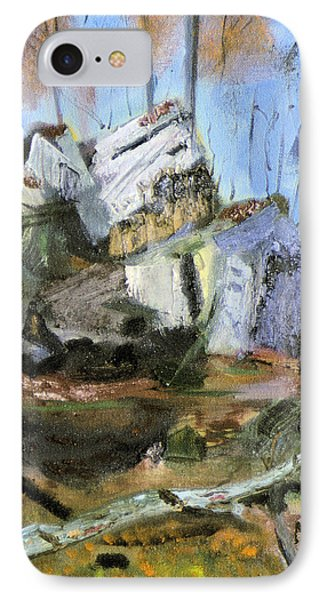 IPhone Case featuring the painting Rocks At Kittatinny by Michael Daniels