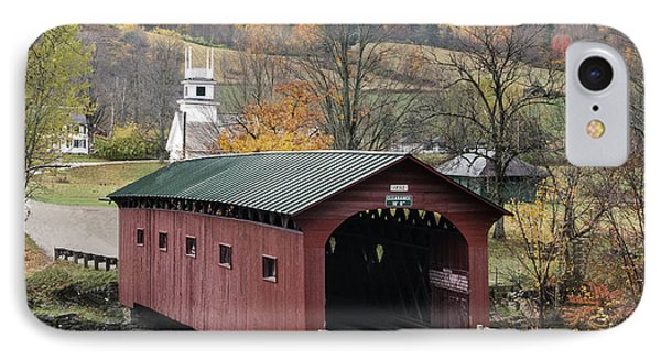 Rockwell Country - The Covered Bridge Of West Arlington IPhone Case by Thomas Schoeller