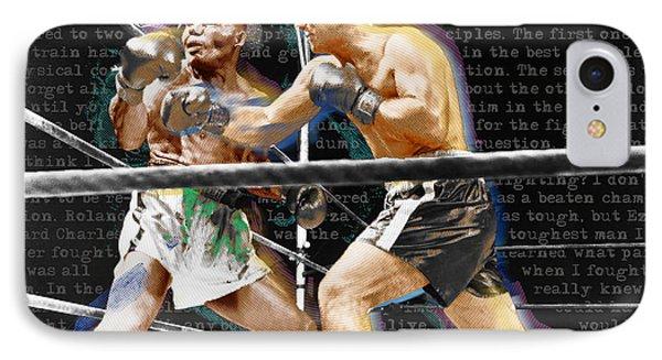 Rocky Marciano V Jersey Joe Walcott Quotes IPhone Case by Tony Rubino