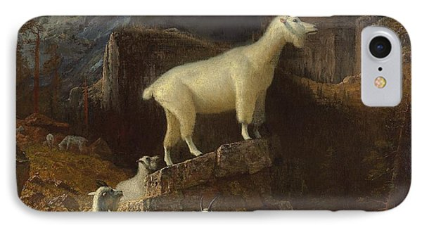 Rocky Mountain Goats IPhone Case by Albert Bierstadt
