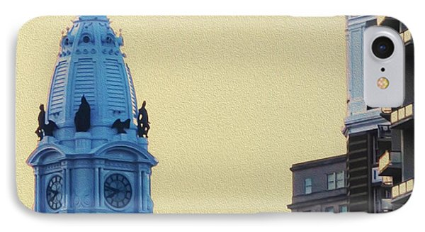 Rocky On Top Of City Hall IPhone Case by Bill Cannon